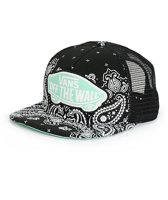 bcc241f925d Vans Beach Girl Black Bandana Trucker Hat in 2019 | Gigi | Vans hats ...