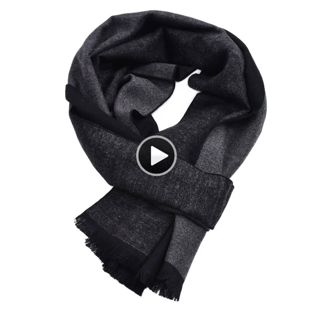 Luxury Brand Black Grey Winter fashion Men Scarves Thick Long soft Warm Contrast color Stripe Viscose cashmere Blend Scarf male #mensscarves