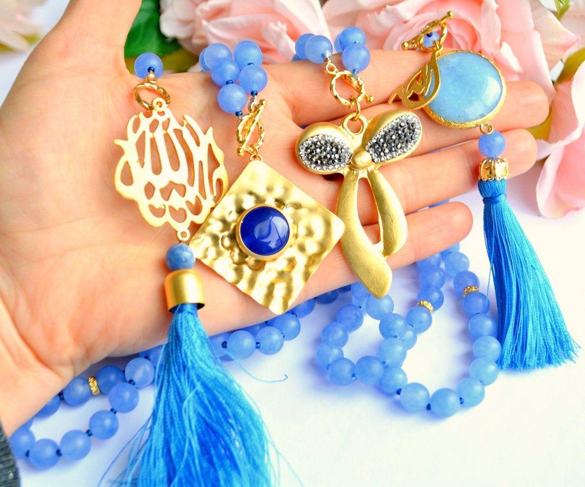 Blue Muslim Groom Gift, Gemstone Islamic Automobile Decor, Navy Blue Allah Car Design, Arabic Car Protection Pray, Healing Stone Car Protect