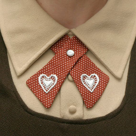 Womens Neck Tie  Rust Polka Dots & Lace Hearts by flappergirl, $22.00