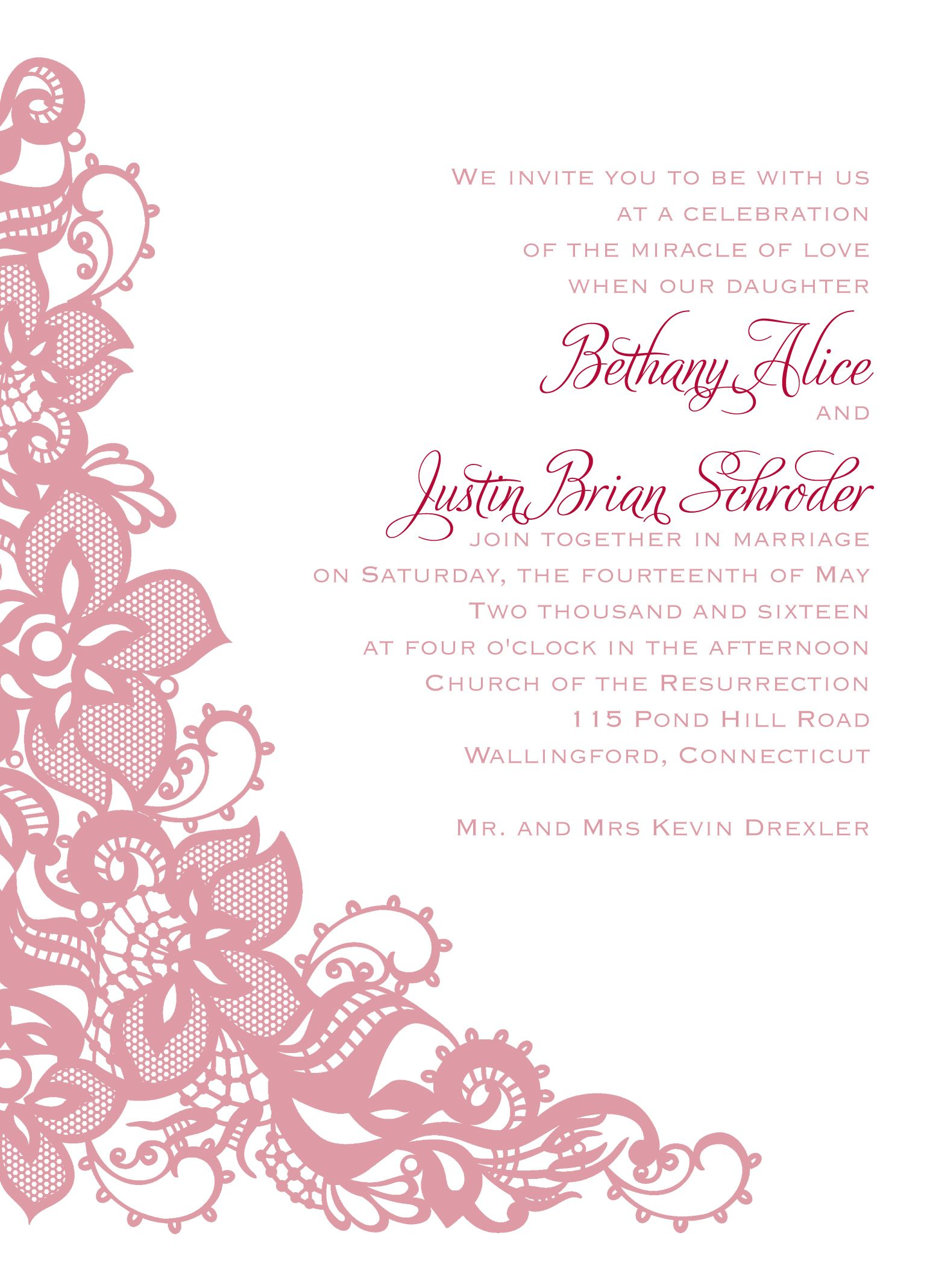 Lace Themed Wedding Invitation Shown Personalized In Pink Ink So