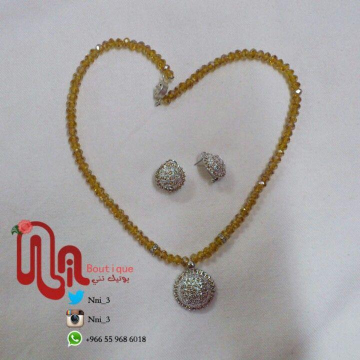 طقم فضه بحجر التوباز العقد كرستال 150 ريال Arrow Necklace Jewelry Necklace