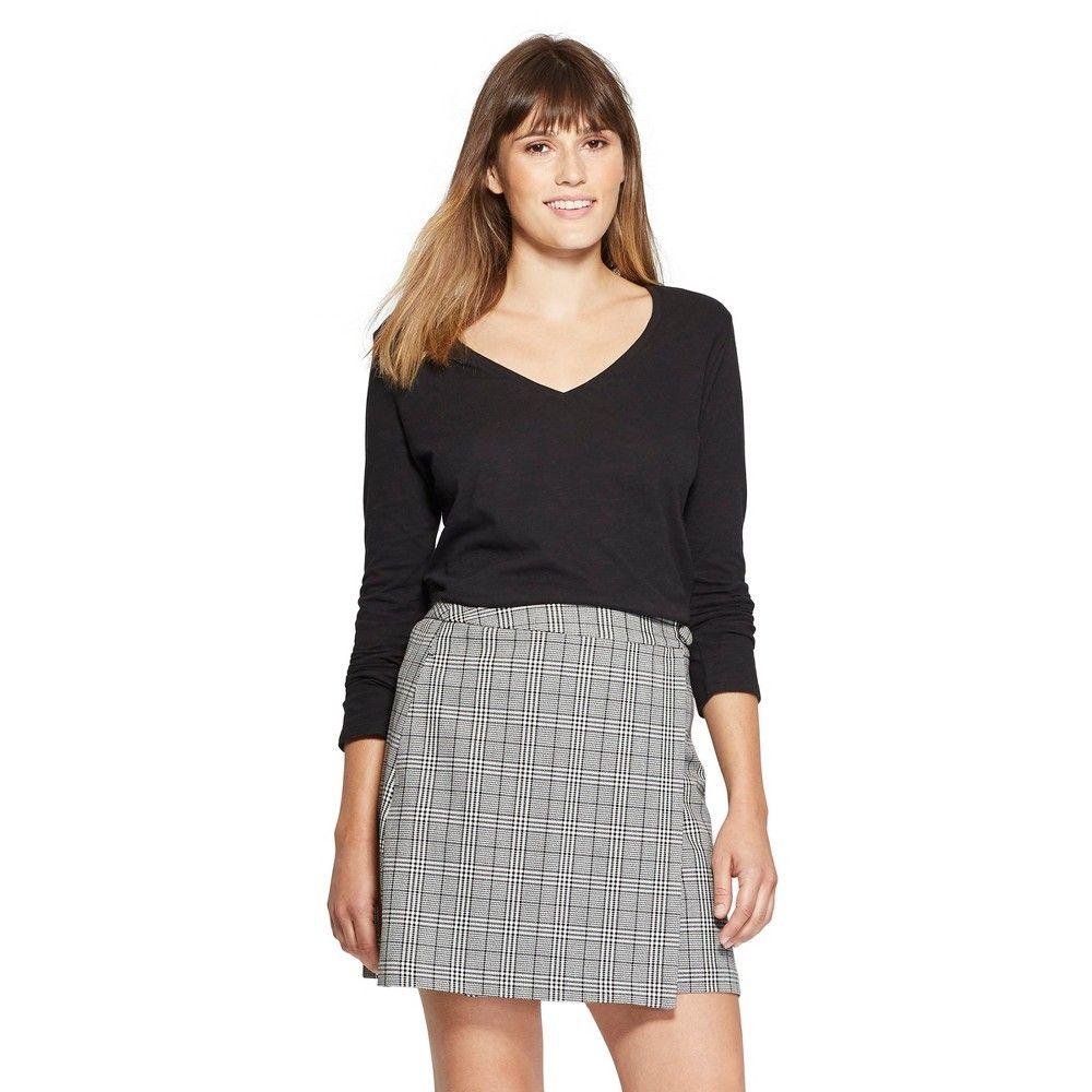 dd9bd4e6ae0 Women s Long Sleeve Vintage V-Neck T-Shirt - A New Day Black L ...