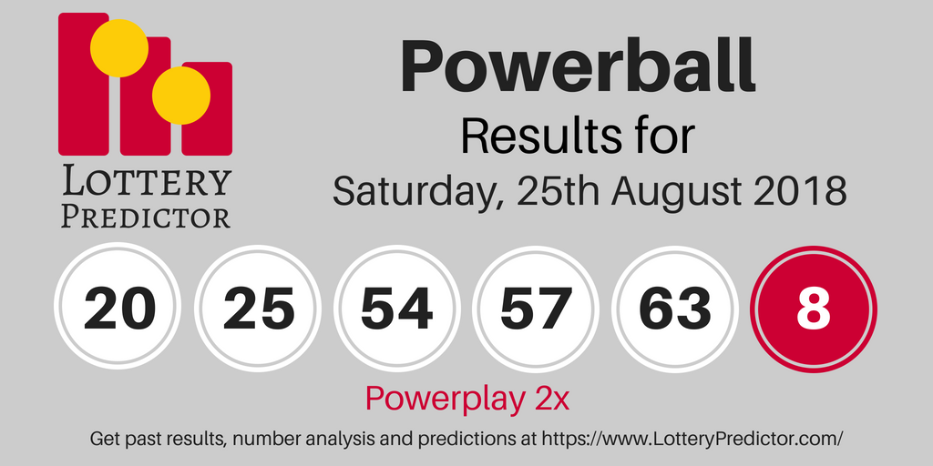 Powerball Draw Results For Saturday 25th August 2018 20 25 54 57