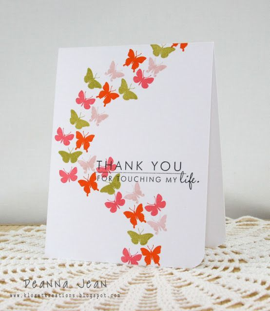 handmade card by Kloset Kreations: ColourQ cQc #148 ... one layer card ... butterly stream in olive, orange, and pink ...