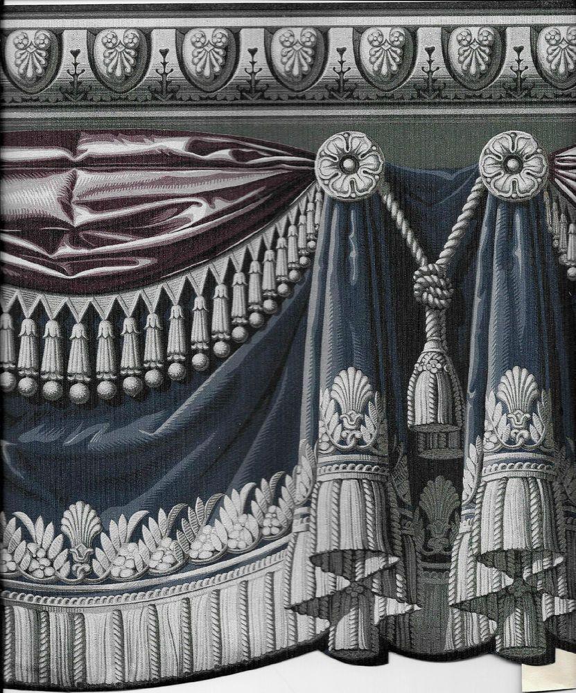 Victorian Blue Plum Drapery Swag W Silver Tassel Sculptured Wallpaper Border Wallpaper Border Wallpaper Transparent Wallpaper
