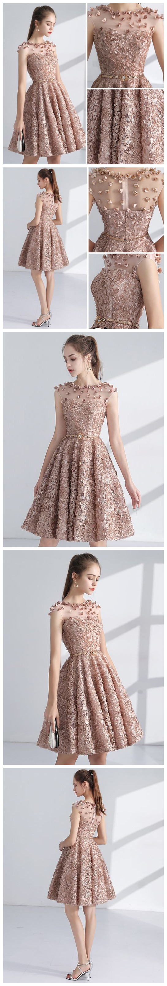 Chic aline scoop pearl pink lace modest short prom dress homecoming