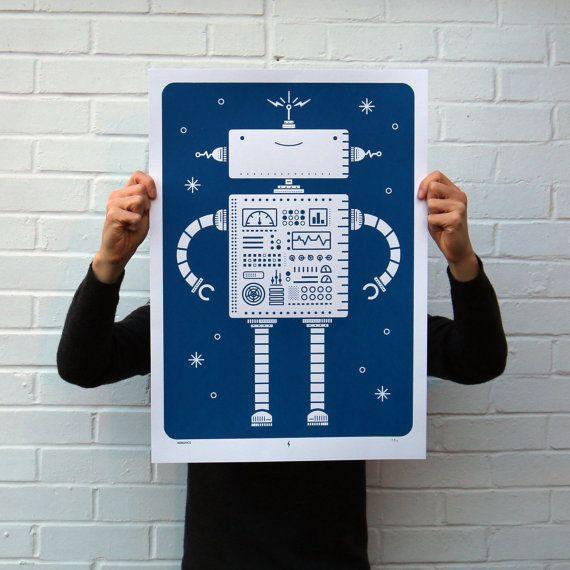 Robotics | Screen Printed Robot Silk Screen Poster | Illustrated ...