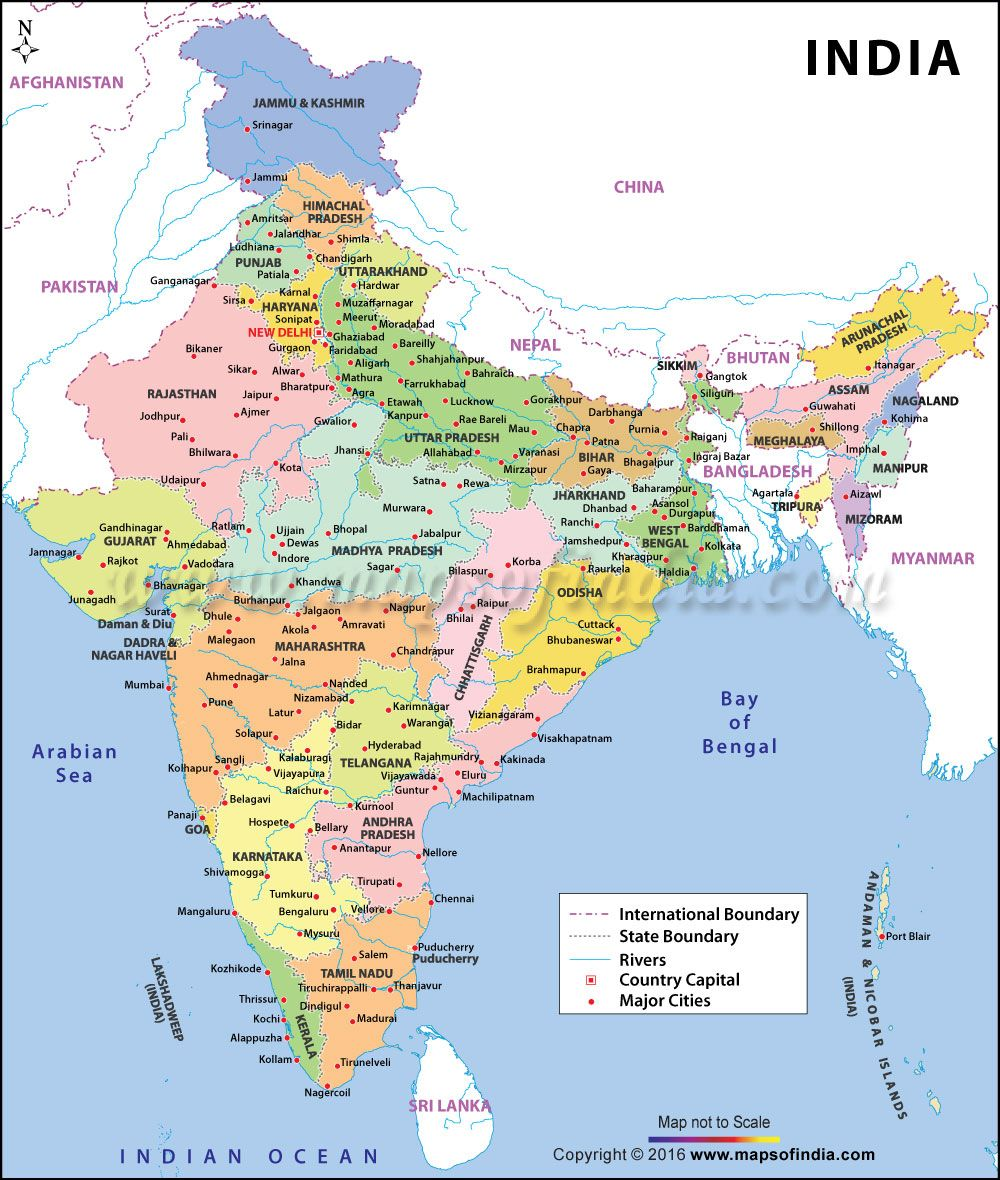 india map with states and capitals and cities and rivers
