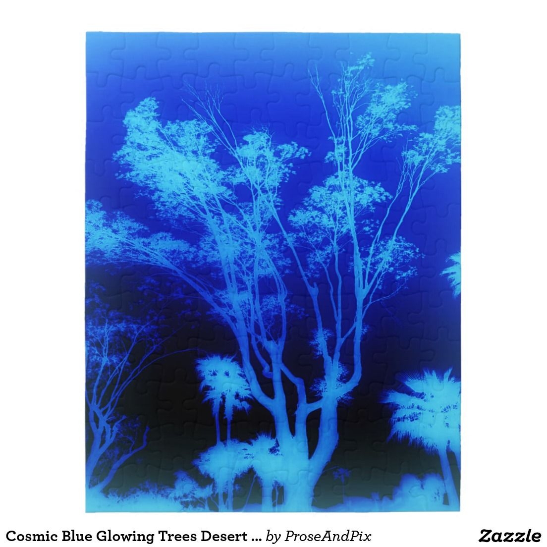 Cosmic Blue Glowing Trees Desert Photography Art Jigsaw Puzzle