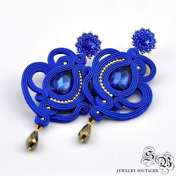 Long Blue Gold Soutache Earrings, Long Blue Dangle Earrings, Long Soutache Earrings, Unique blue Soutache Earrings posts, openwork earrings