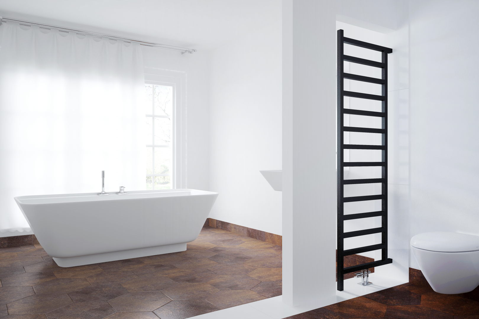 Terma Simple Room Divider Towel Rail in Heban From £299   Designer ...