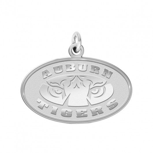 Auburn Tigers Charm - Natural Finish Sterling Silver Logo