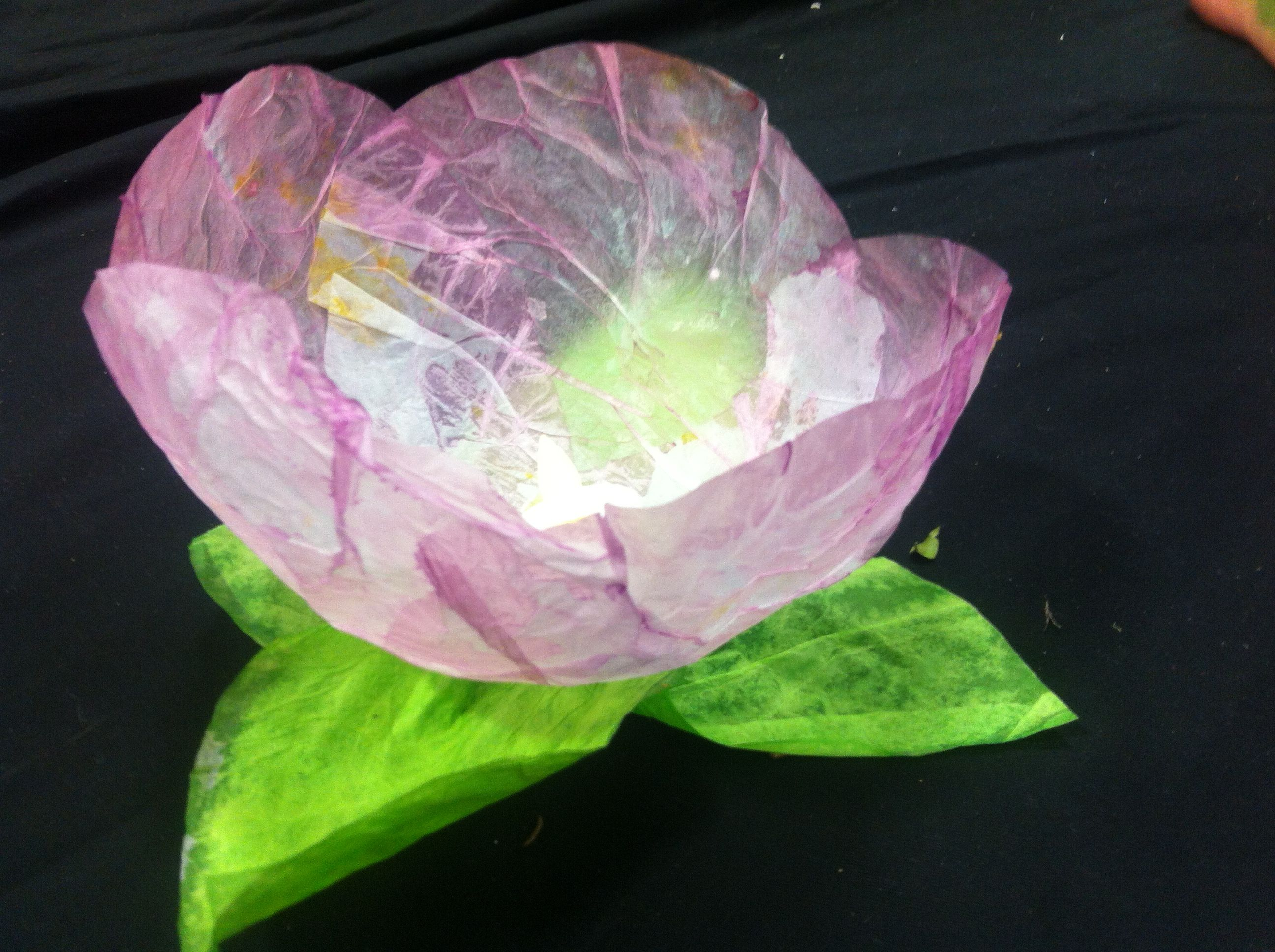 Tissue Paper Flower Lantern Made Over The Top Of A Vaseline Covered