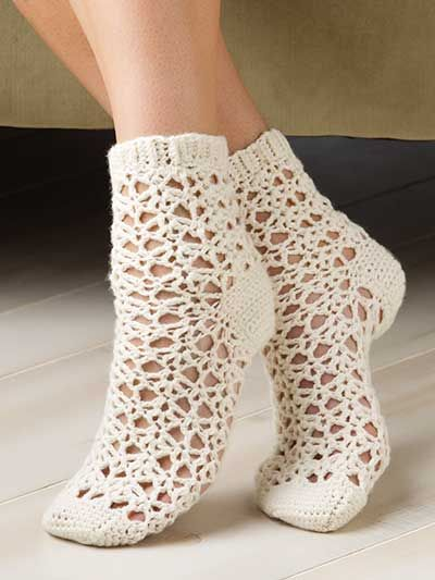 Picot Shell Socks Crochet Pattern Download From E Patternscentral