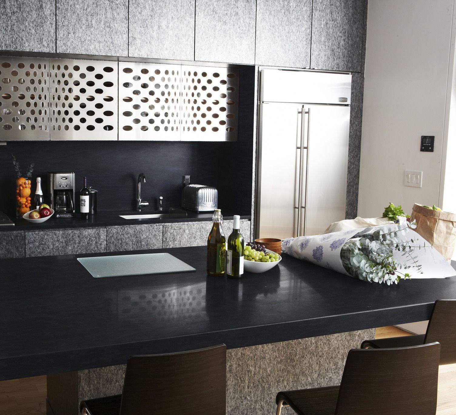 Sleek Kitchen In Corian Deep Inkwell Laminate Countertops