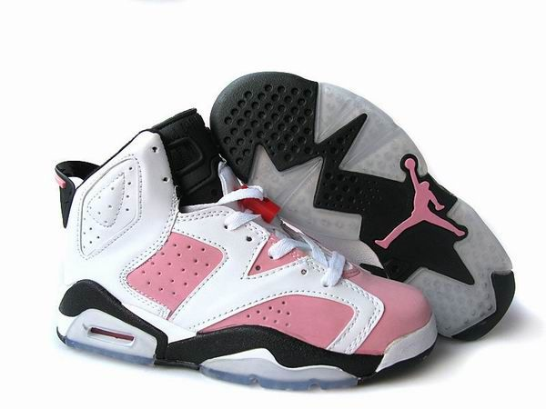 Air Jordan 6 Women's basketball shoes--pink/white/black