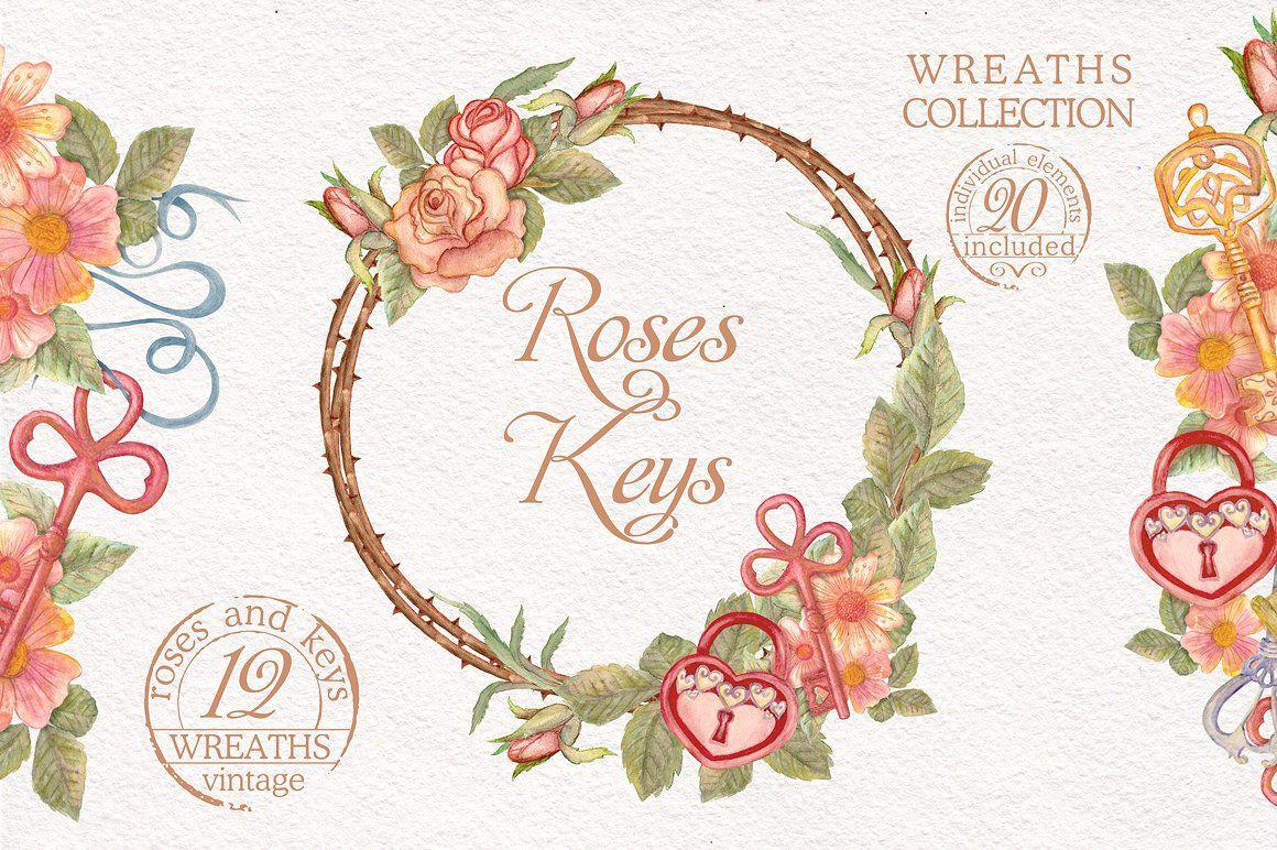 Watercolor wreaths set roses u keys illustrations beautiful