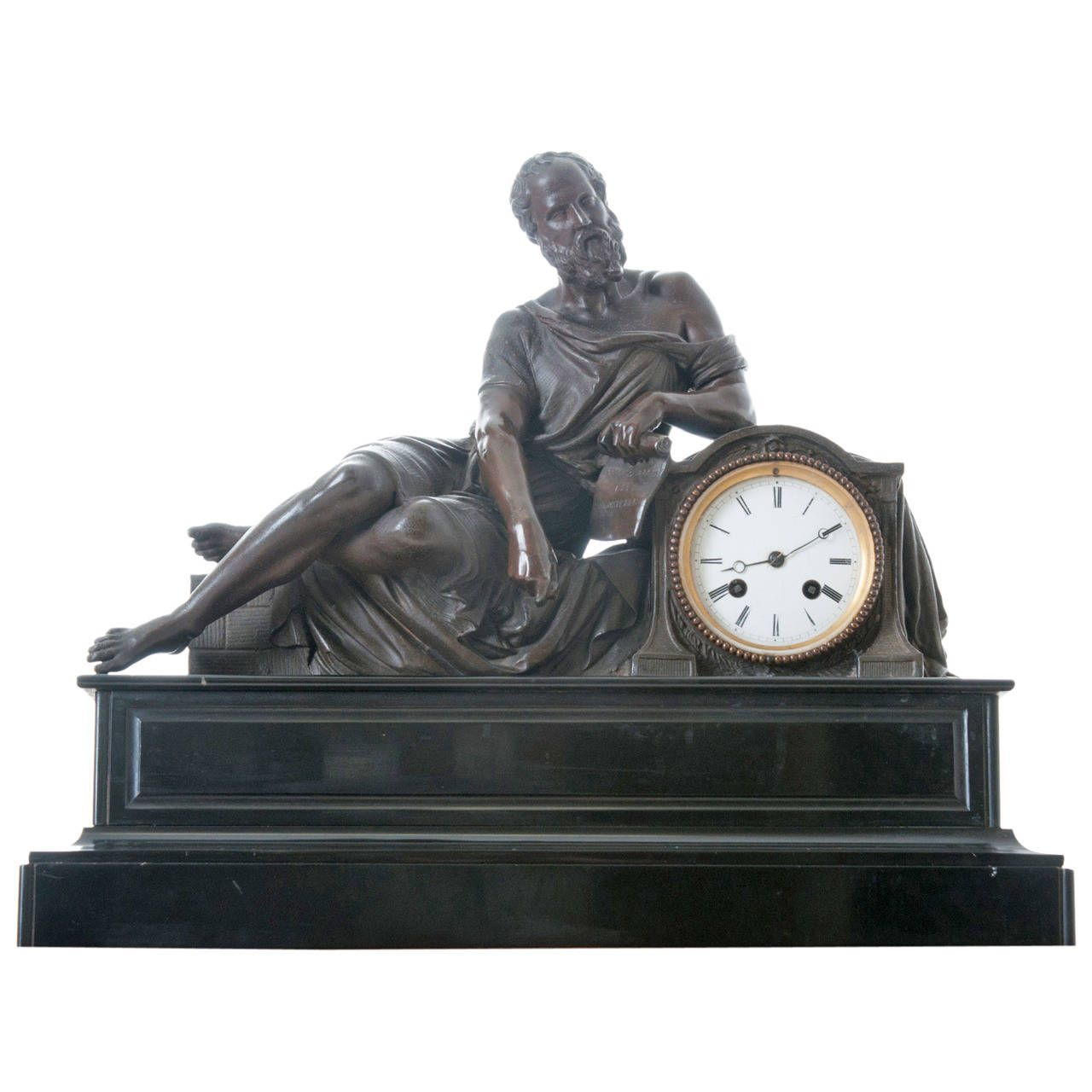 French 19th Century Spelter and Marble Clock | From a unique collection of antique and modern clocks at https://www.1stdibs.com/furniture/decorative-objects/clocks/