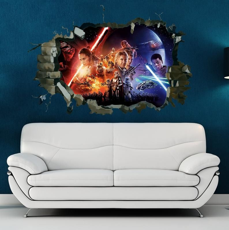 Star Wars Wall Decal Star Wars Hole In The Wall Feature Colour Etsy Star Wars Wall Decal Star Wars Wall Sticker Interior Design Art