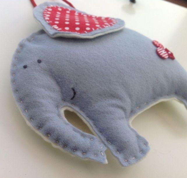Felt elephant hanging decoration personalised baby gift felt felt elephant hanging decoration personalised baby gift negle Image collections