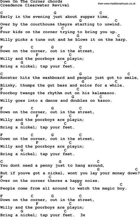 Song Lyrics With Guitar Chords For Down On The Corner Guitar