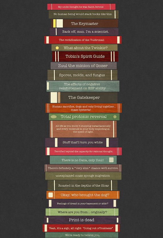 Ghostbusters Quote Book Stack 13x19 Poster Etsy Missingtime Ghostbusters Quotes Ghostbusters Book Quotes