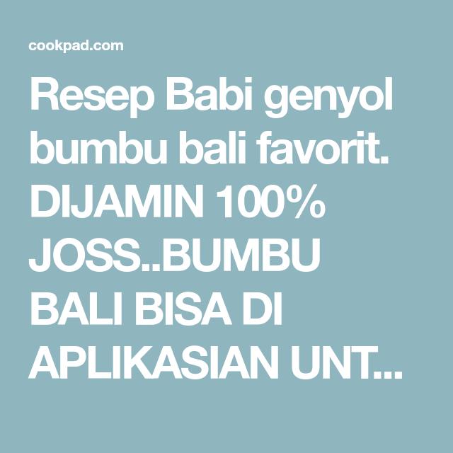Resep Babi Genyol Bumbu Bali Oleh Trisna Dana Resep Resep Babi Daging Babi Resep