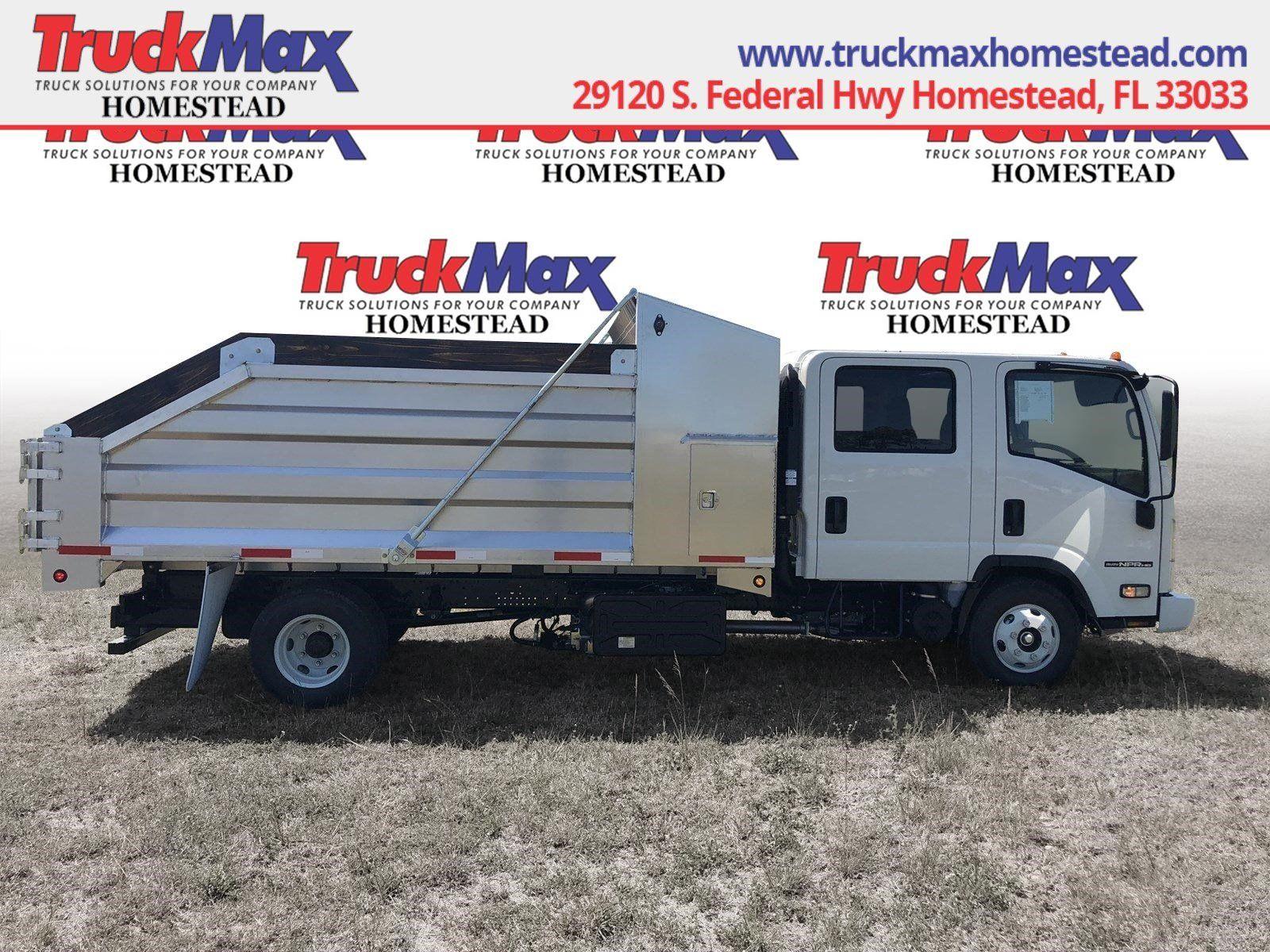 2018 Isuzu Npr Hd 14 Slanted Aluminum Landscape Dump Truck Crew Cab Gas Call 833 460 6501 For More Information Trucks Cool Landscapes Dump Truck