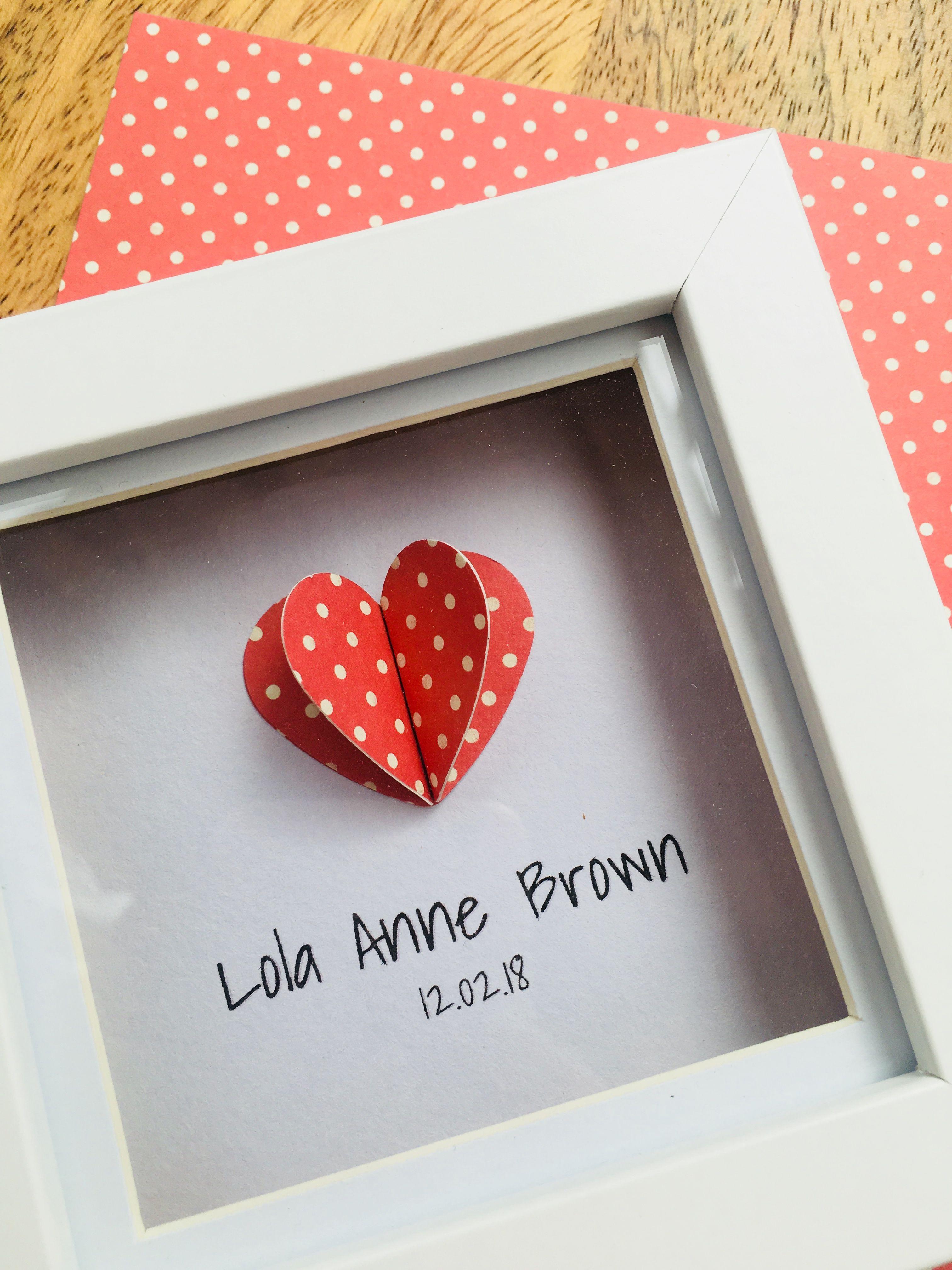 Personalised Heart Framed Art Nursery Art Birthday Gift