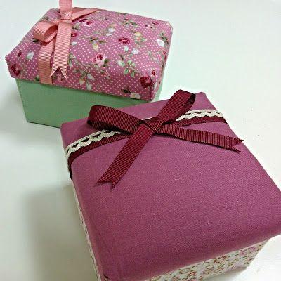 Cajas forradas con tela manualidades pinterest for Cajas para manualidades