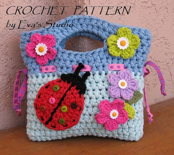 Girls Bag / Purse with Ladybug and Flowers , Crochet Pattern PDF ...