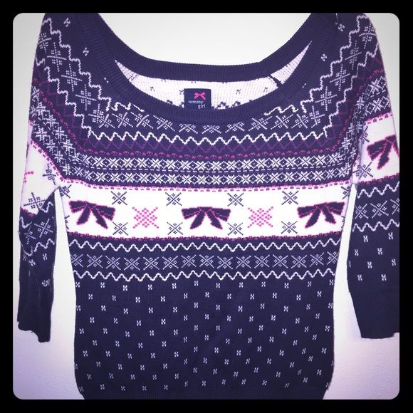 Holiday Sweater Cute bows in pink and navy. Unworn. Scoop neck. 3/4 length sleeves. Great quality. Tommy Hilfiger Sweaters Crew & Scoop Necks