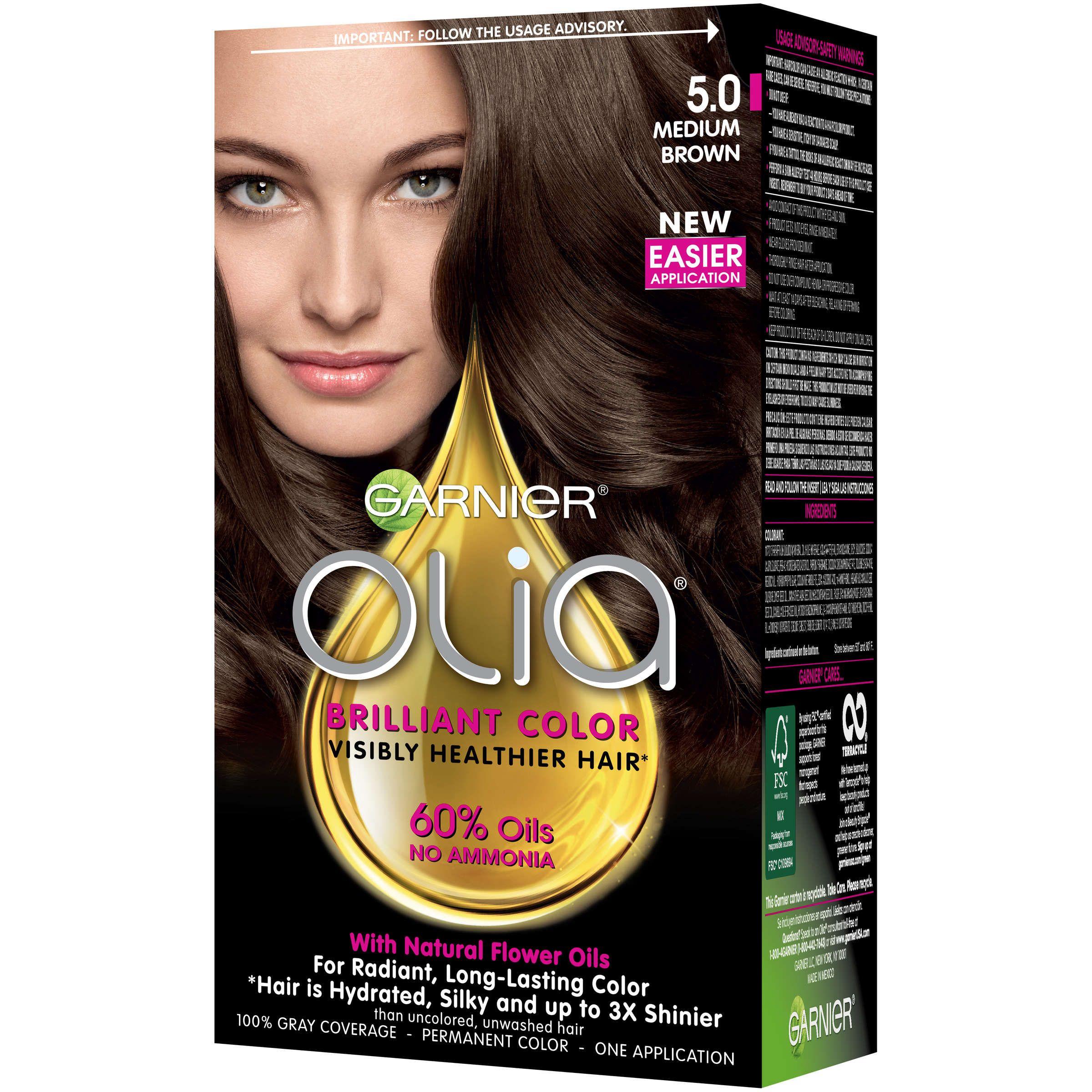 Garnier Olia Oil Powered Permanent Hair Color 6 0 Light Brown 1 Kit Walmart Com Garnier Olia Olia Hair Color Permanent Hair Color