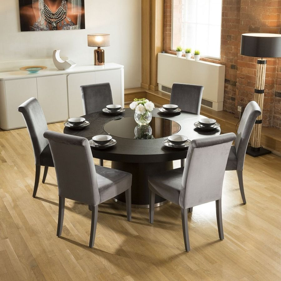Large Round Black Oak Dining Table + 6 High Back Velvet ...