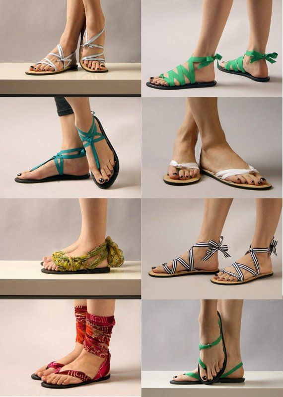 ae1430e5c55c7 Flat Thong Ribbon Sandals by Mohop