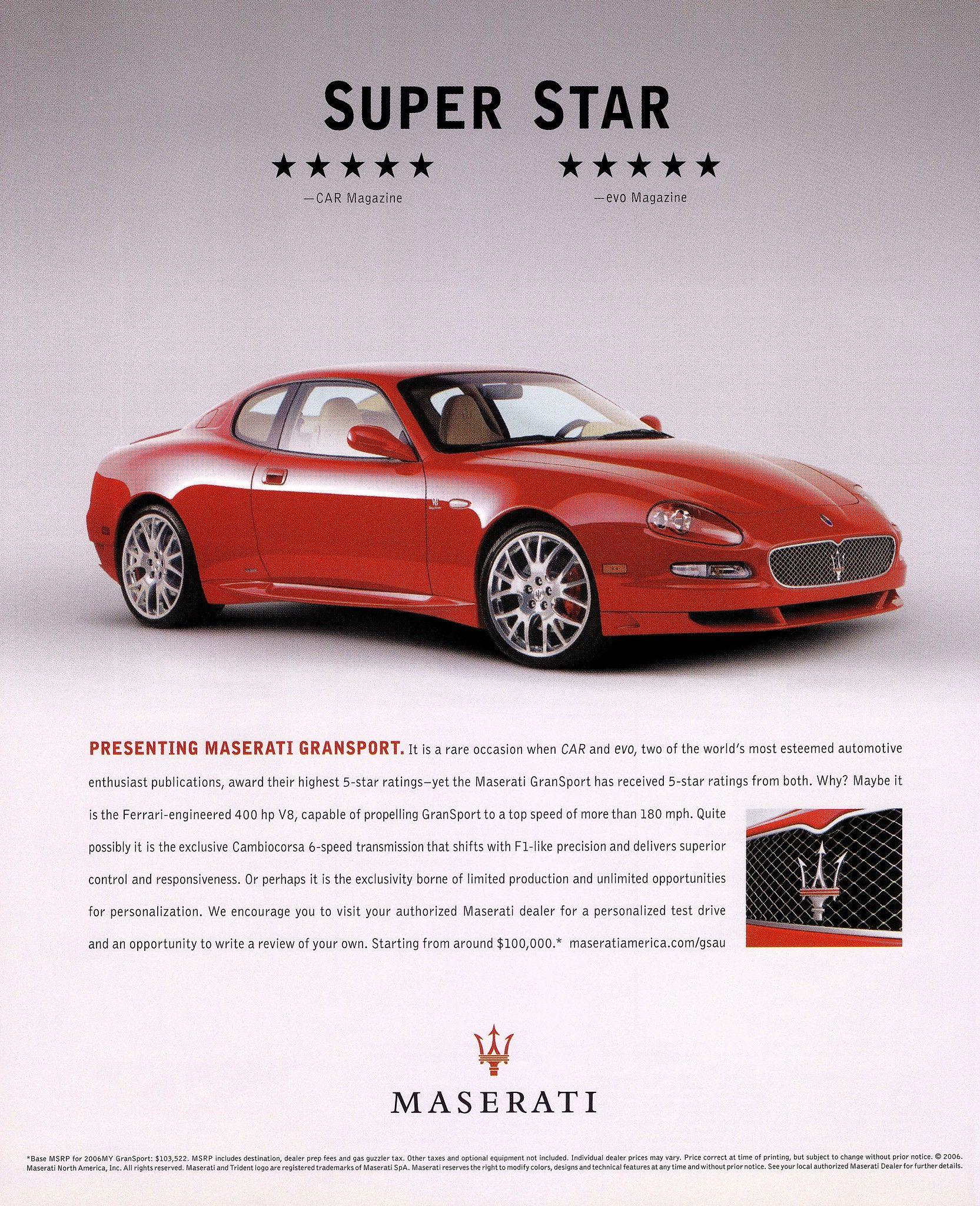 Maserati Gransport 2006 V8 Super Star Maserati Maserati Car Car Magazine