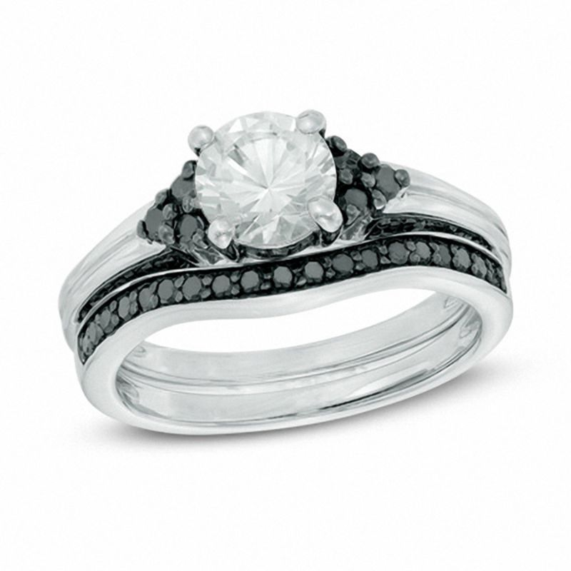 Zales Lab-Created White Sapphire and 3/8 CT. T.w. Enhanced Black Diamond Three Stone Bridal Set in Sterling Silver HN5wuWN