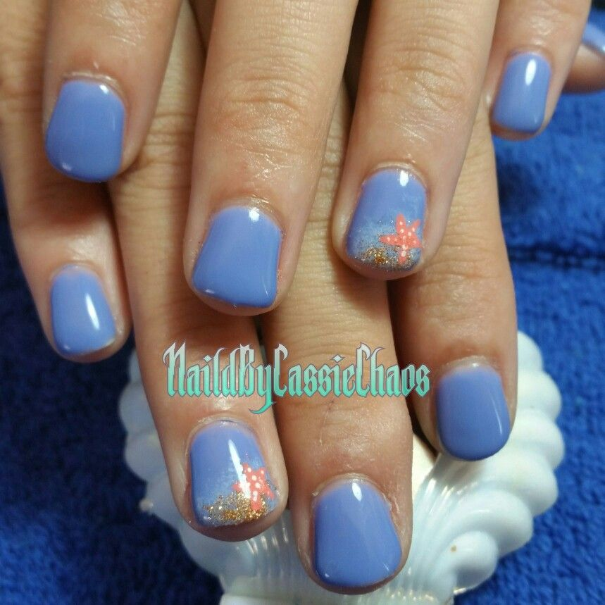 Gel Polish In Light Blue With Beach Themed Nail Art Beach Nails