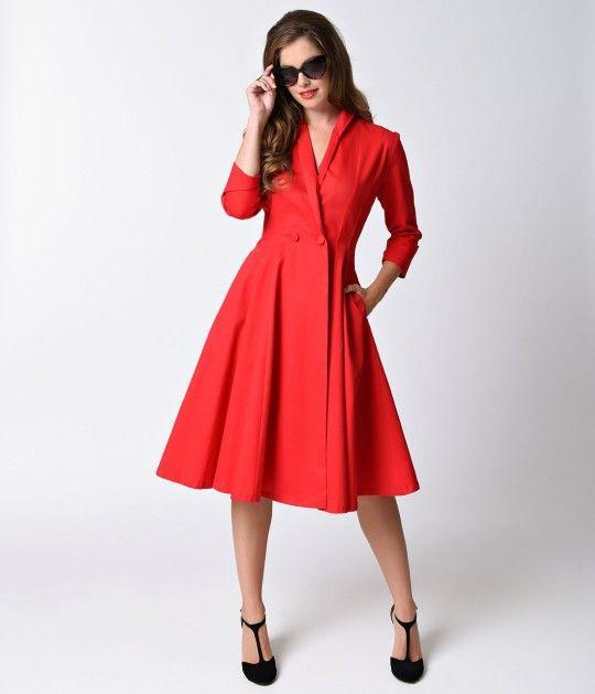 37b632fd6d6 Unique Vintage Red Three-Quarter Sleeve Button Up Bordeaux Dress Coat