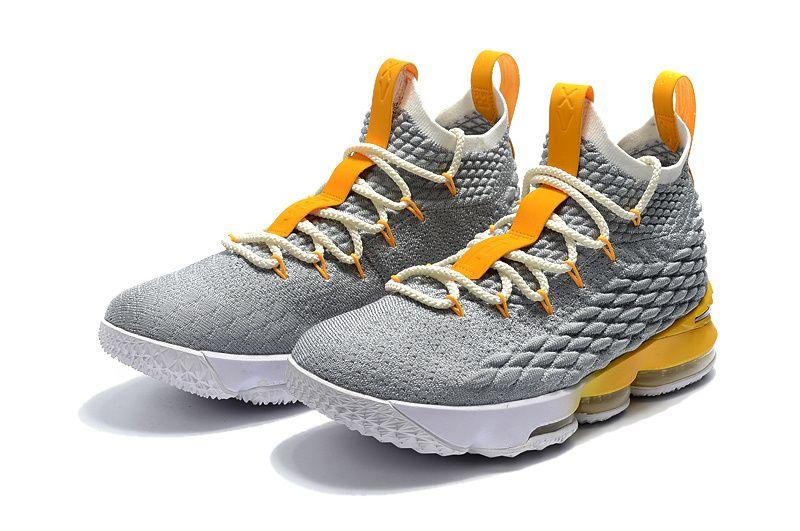 fc13cf229a0d Nike LeBron 15 XV Grey Yellow-White