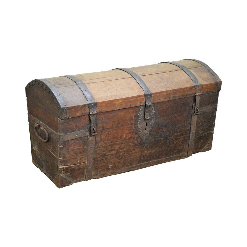 Antique 18th Century Dome Top Wooden Pirates Chest W Iron Straps For Sale Iron Straps Wooden Trunks Wood Trunk