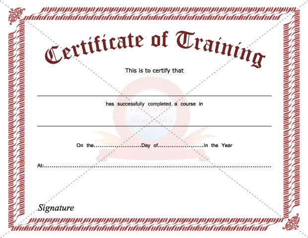 Training Certificate Template – Training Certificates Templates Free Download