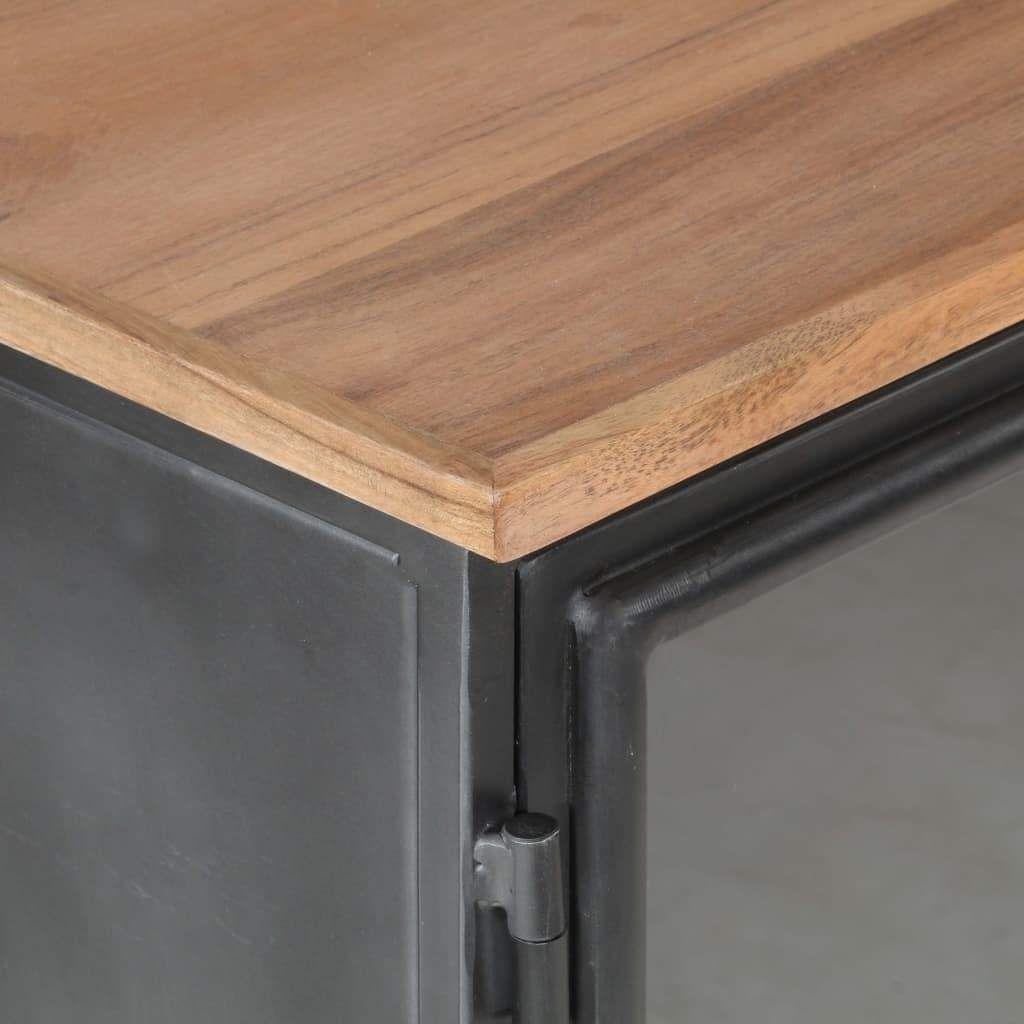 ZNTS Sideboard Grey 60x35x70 cm Solid Acacia Wood and Steel …