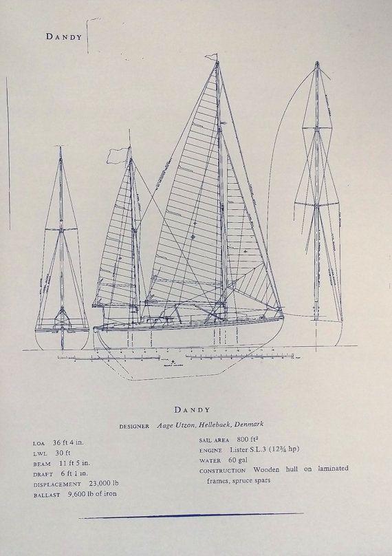 Sailboat  - new old blueprint art