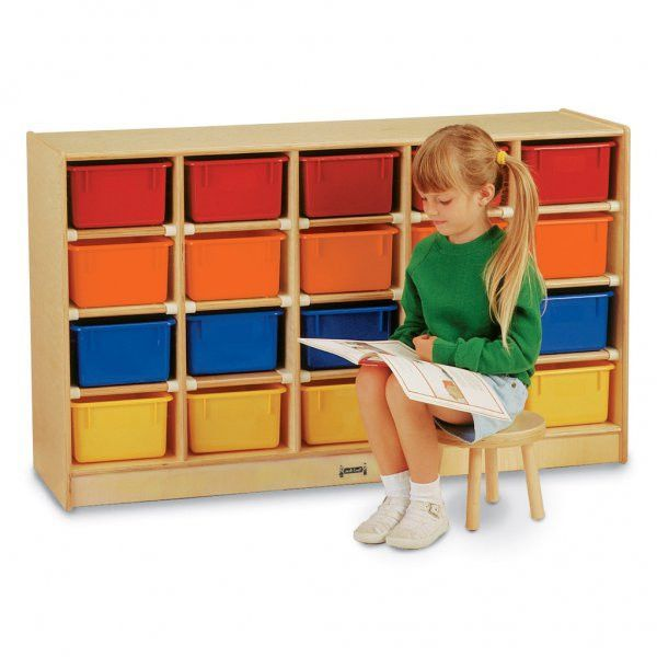 "Mobile Cubbie with 20 Colored Trays (Multi) (29.5""H x 48""W x 15""D)"