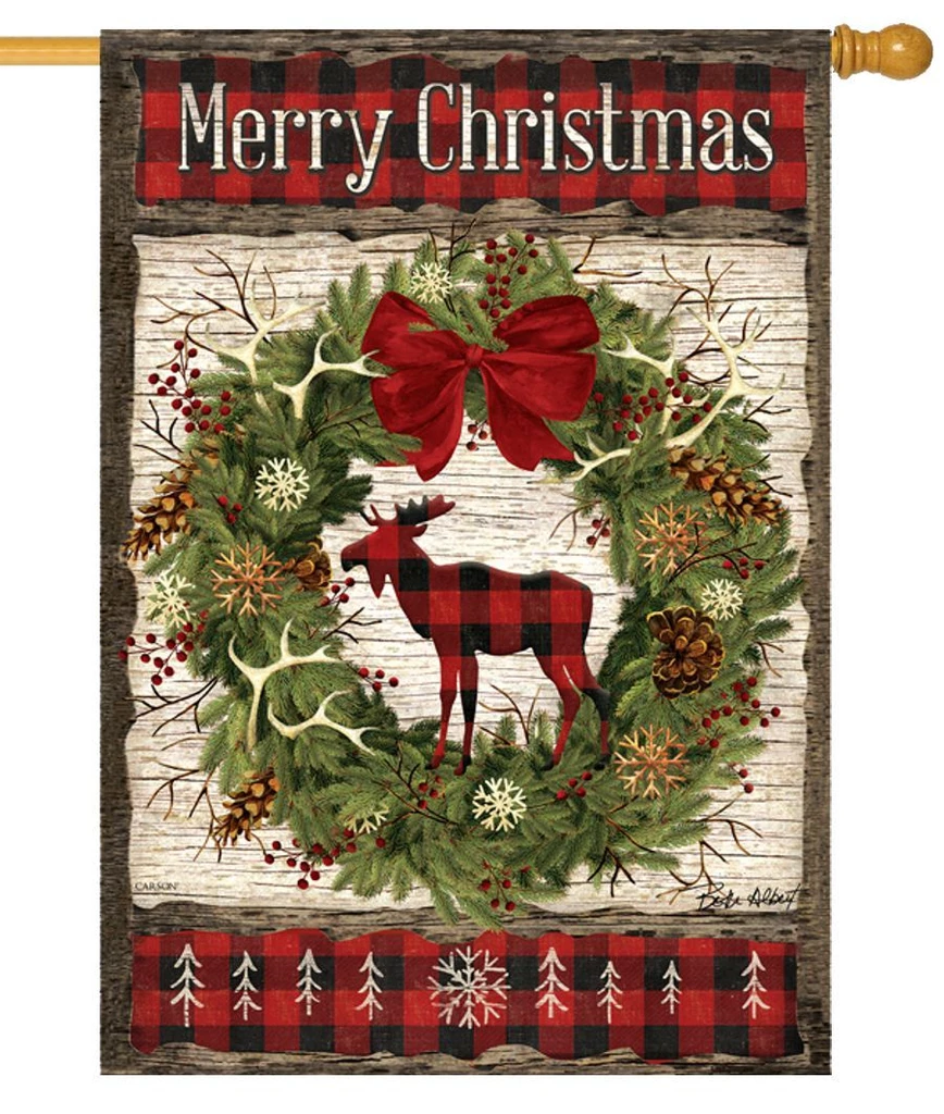 Plaid Christmas Moose House Flag Christmas Flag Christmas Garden Flag Buffalo Plaid Christmas