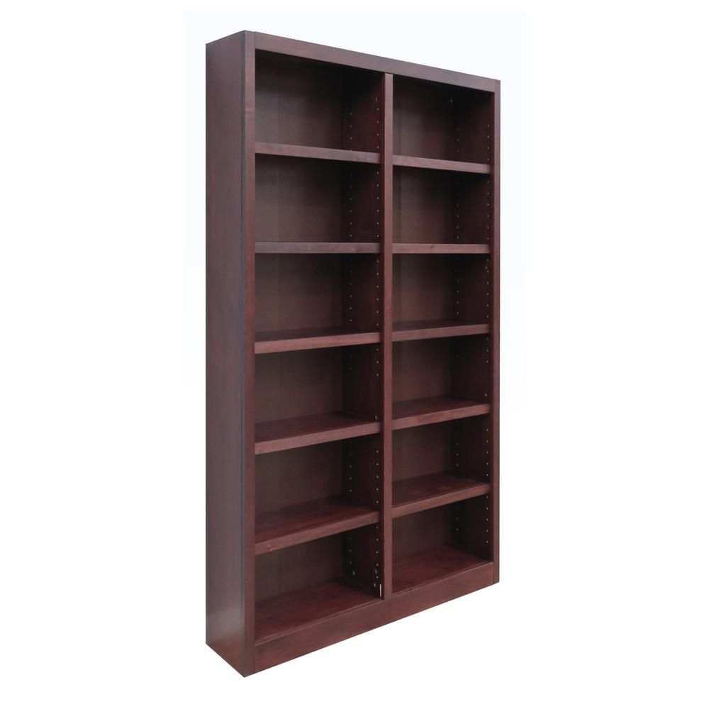 Concepts In Wood Midas Double Wide Wood Bookcase 12 Shelves 84