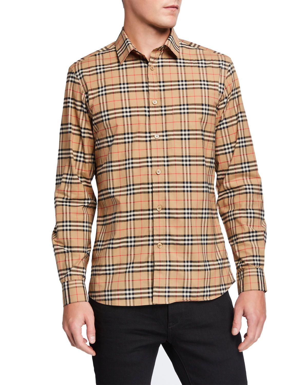 Burberry Men S Simpson Check Pattern Sport Shirt In 2021 Burberry Shirts For Men Mens Polo T Shirts Sports Shirts