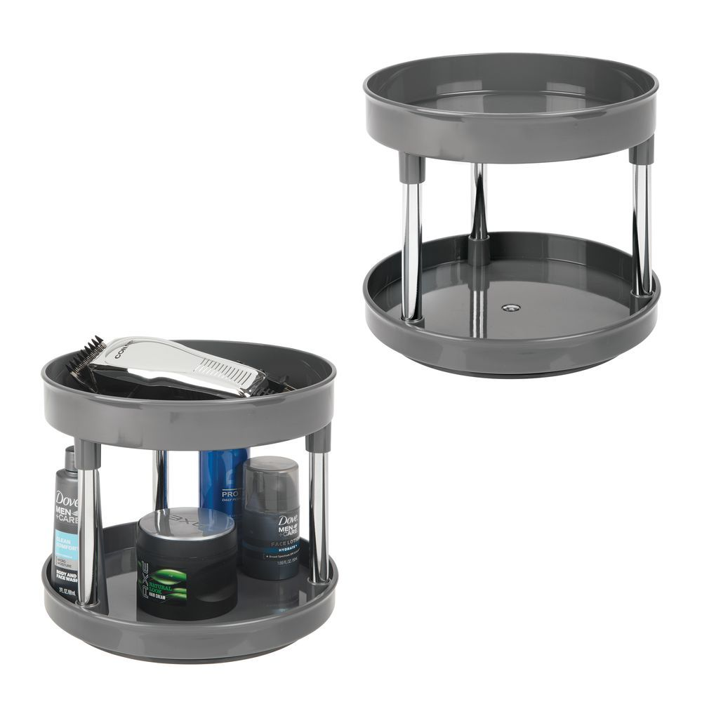 2 Tier Lazy Susan Turntable For Bathroom Storage Lazy Susan Bathroom Storage Kitchen Pantry Cabinets